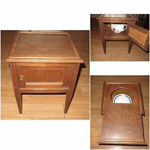 Antique table hidden commode
