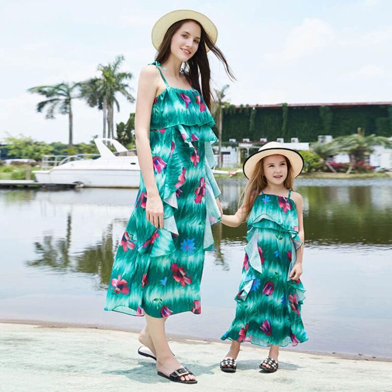 Partnerlook Mutter Tochter Kleider Mädchen Damen Träger Strandkleid Sommerkleid