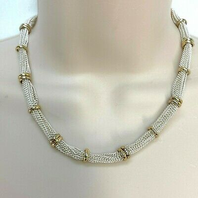 Lauren Ralph Lauren Silver Tone Chain Necklace with Gold Tone Stations