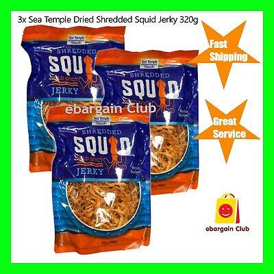 3x Sea Temple Dried Shredded Squid Jerky Mild Spicy 320g Snack ebargainClub