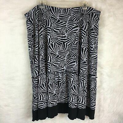 Avenue Plus Size 22 24  A Line Skirt Midi Length Black White Stretch 3X