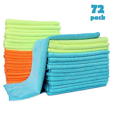 US 72PCS Microfiber Cleaning Cloth Rag No-Scratch Car Polishing Detailing Towel