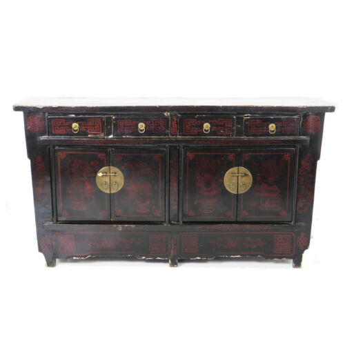 """Antique Chinese Asian 67"""" Black Lacquer Buffet Sideboard Cabinet  Designs"""