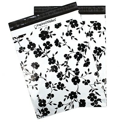 Black Floral Printed Large Poly Mailers 14.5x19 - Pack Of 50