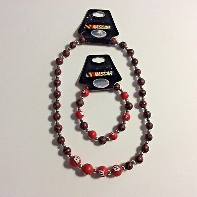 - Bracelet Necklace Set Nascar Dale Earnhardt Jr Red Black Silver Fashion Jewelry