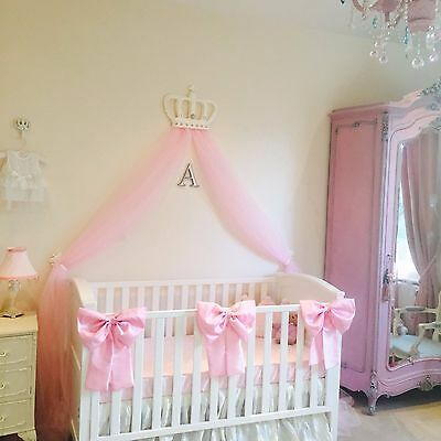 Nursery Decor Baby Girls Large Cot Bow Princess Bedding Pink White x 2 Bows for sale  Shipping to South Africa