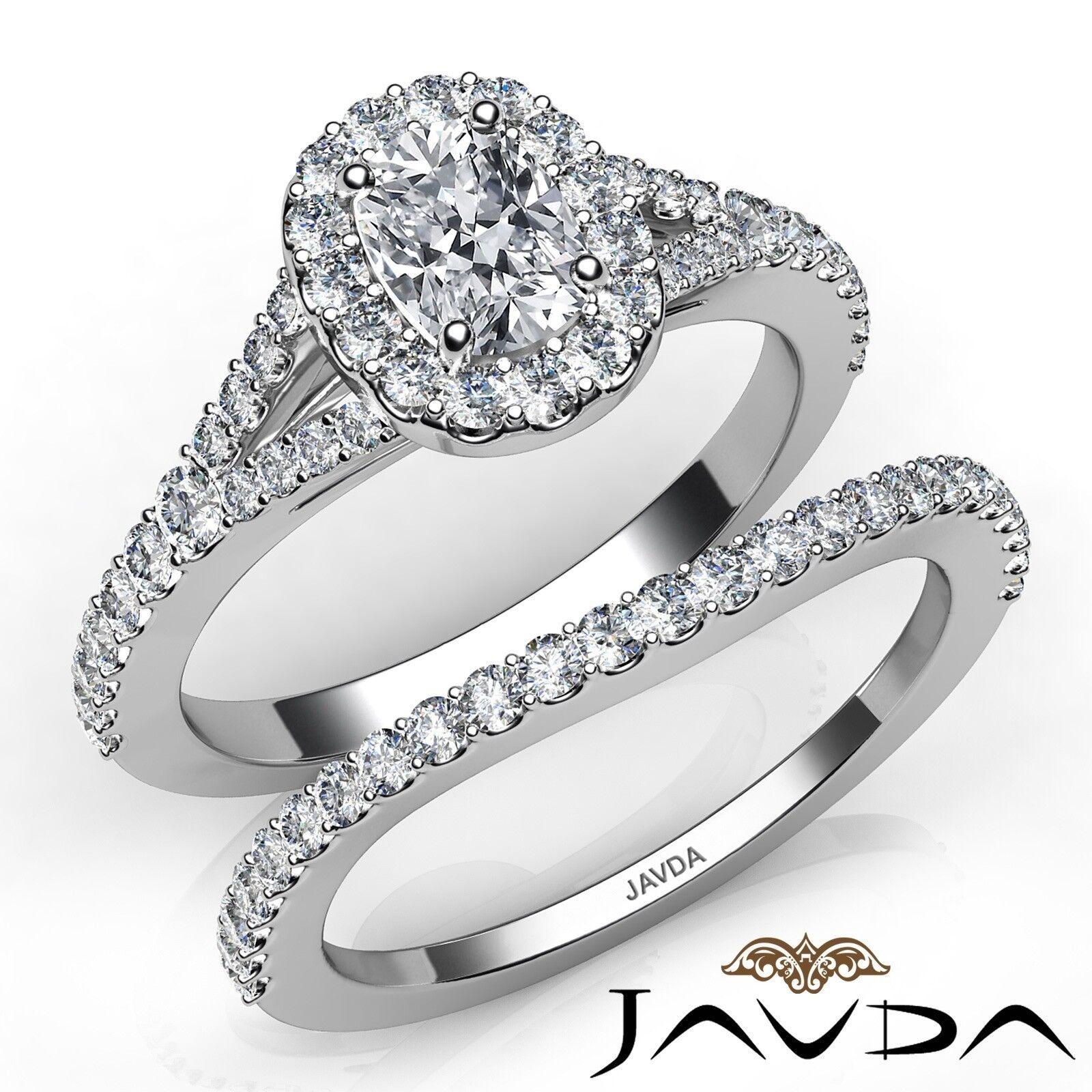 1.55ctw U Halo Pave Bridal Cushion Diamond Engagement Ring GIA E-VS2 White Gold