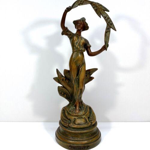 RUCHOT c. 1900 French Art Nouveau Lady Patinated Bronze Spelter Statue Sculpture