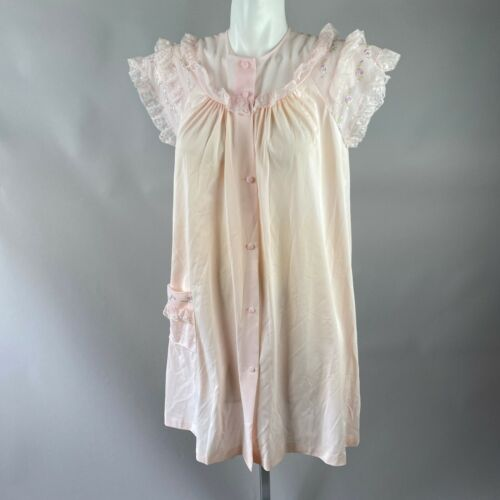 Vtg 60s Shadowline Pink Lace Trim Night Gown Robe House Coat Size Medium Nylon