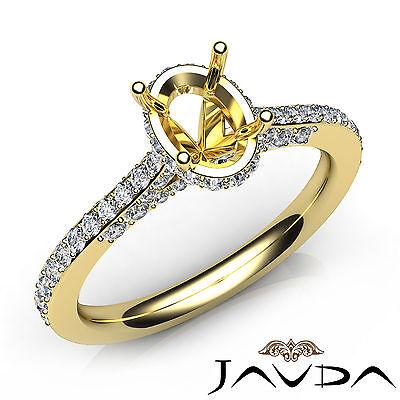 Pave Setting Oval Cut Diamond Engagement 18k Yellow Gold Semi Mount Ring 0.65Ct