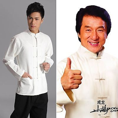 Jackie Chan Costume (Traditional Chinese style Jackie Chan White Kung Fu Suit Tai Chi Shirt)