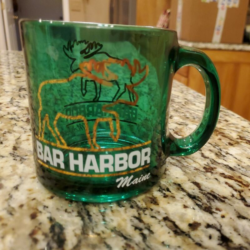 Bar Harbor Maine Green Glass Coffee Mug with Moose MADE IN USA