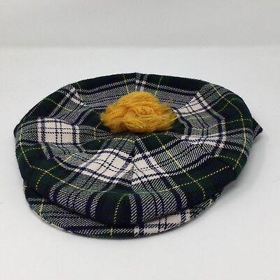 Vintage Sheldon Irish Green Plaid Yellow Ball Newsboy Cap Hat Size 7 3/8 (Yellow Newsboy Cap)
