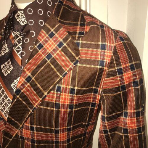 NEW Vtg 60s 70s Brown PLAID CORDUROY Blazer Disco Coat Suit Jacket MENS 40 NOS