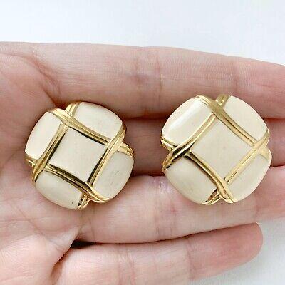 Vintage Monet White Enamel Gold Tone Button Earrings White Gold Button Earrings