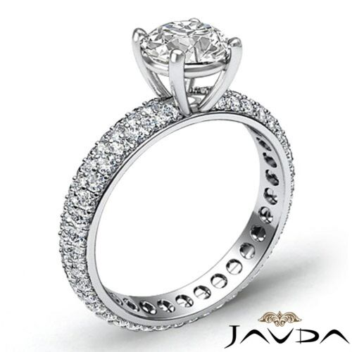 Round Cut Diamond Engagement Eternity Style Ring GIA F SI1 14k White Gold 2.5ct 1