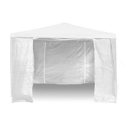 3x3M White Heavy Duty Gazebo Marquee Canopy Waterproof Garden Party Tent w/Sides