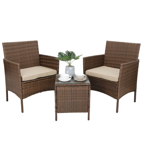 Patio Porch Furniture Sets 3 Pieces PE Rattan Wicker Chairs with Table Outdoor Home & Garden