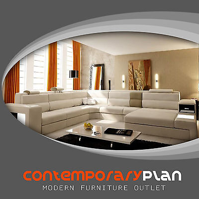 Polaris Cream Italian Leather Sectional Sofa with Taupe Accent Contemporary Cream Leather Sectional Sofa