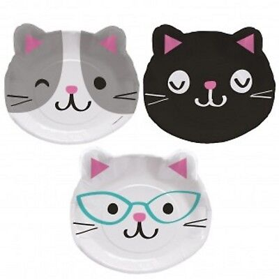 ty Cat Kitten Party Supplies Shaped Dinner Party Plates 8pk (Kitty Cat Party Supplies)