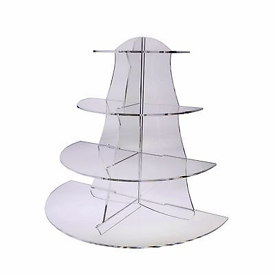 4 Tier Display Riser Half Shelf Table Clear Acrylic Stand Home Or Retail Qty 6