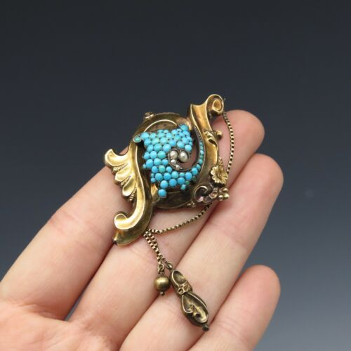 Early Victorian Rococo Silver & 14k Gold Turquoise Natural Pearl Repousse Brooch