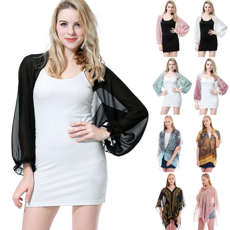 Ladies Chiffon Sheer Shawl Scarf Cardigan Solid Long Sleeve Bolero Shrug Crop Clothing, Shoes & Accessories