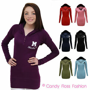 NEW-LADIES-MISS-SEXY-HOODED-LONG-SLEEVE-T-SHIRT-HOODIE-JUMPER-TOP-SIZES-8-14