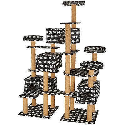 XXL Tiragraffi per gatti 214cm gatto albero graffiatoio nero/impronte di zampe