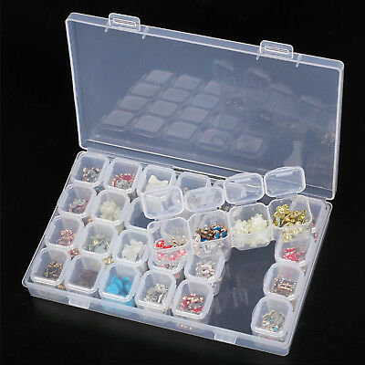 Clear Plastic 28 Slots Adjustable Jewelry Storage Box Case Organizer Container (Clear Box)
