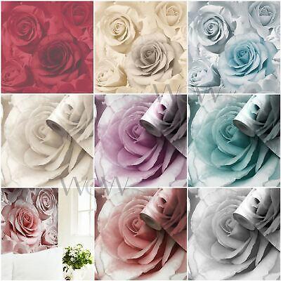 MADISON ROSE WALLPAPER GLITTER FLORAL FLOWERS MURIVA