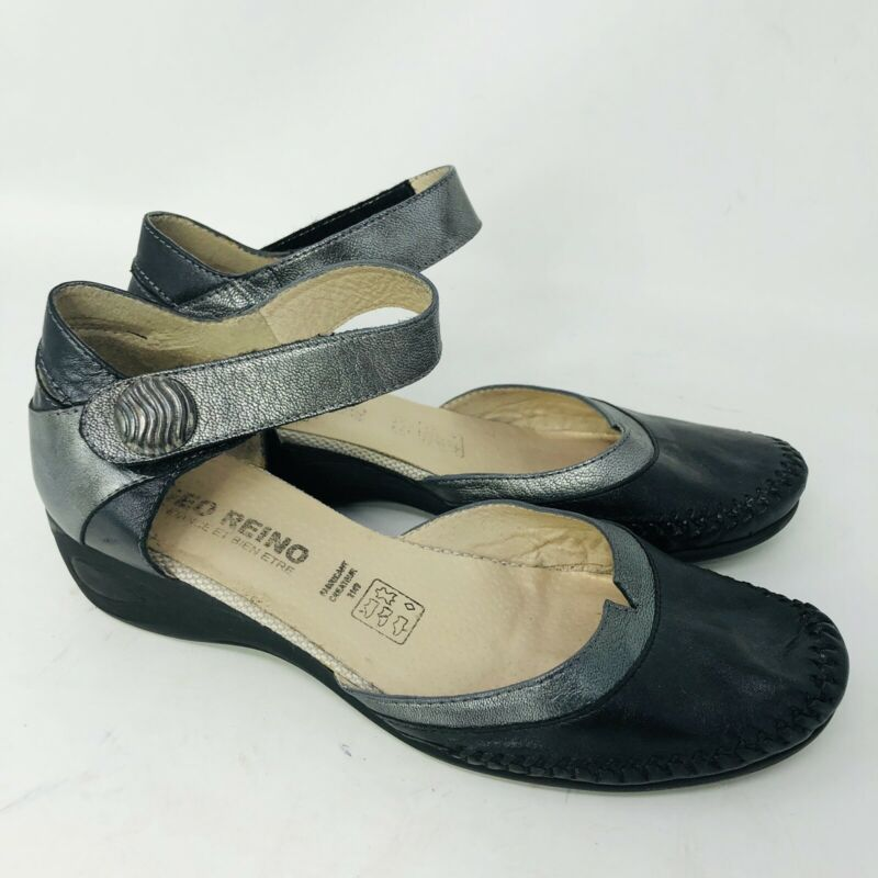 GEO REINO Leather Black Gray Soft Leather Ankle Strap Can Comfort Sandal 37/6.5