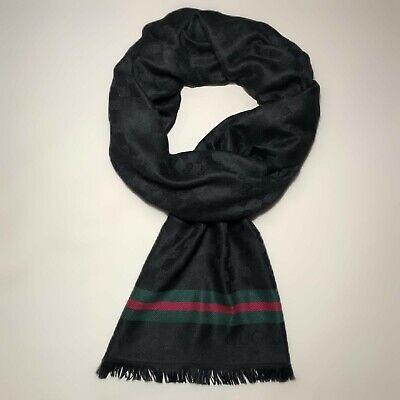 NEW GUCCI GG Jacquard Pattern Knitted Wool Scarf - Black