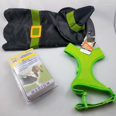 Dog Halloween Witch Costume Lime Green Harness Halter Harness Bundle Lot ()