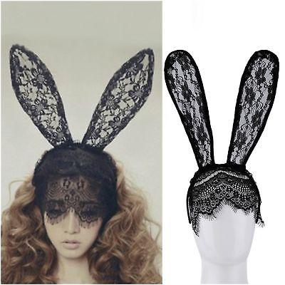 Hasenohren Haarreif Spitze Maske Schleier für Maskerade Halloween Bunny
