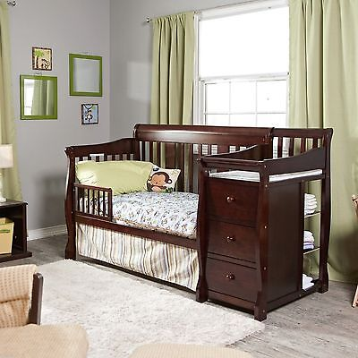 4 in 1 Side Convertible Crib Changer Nursery Furniture Baby Bed Espresso 3 Shelf