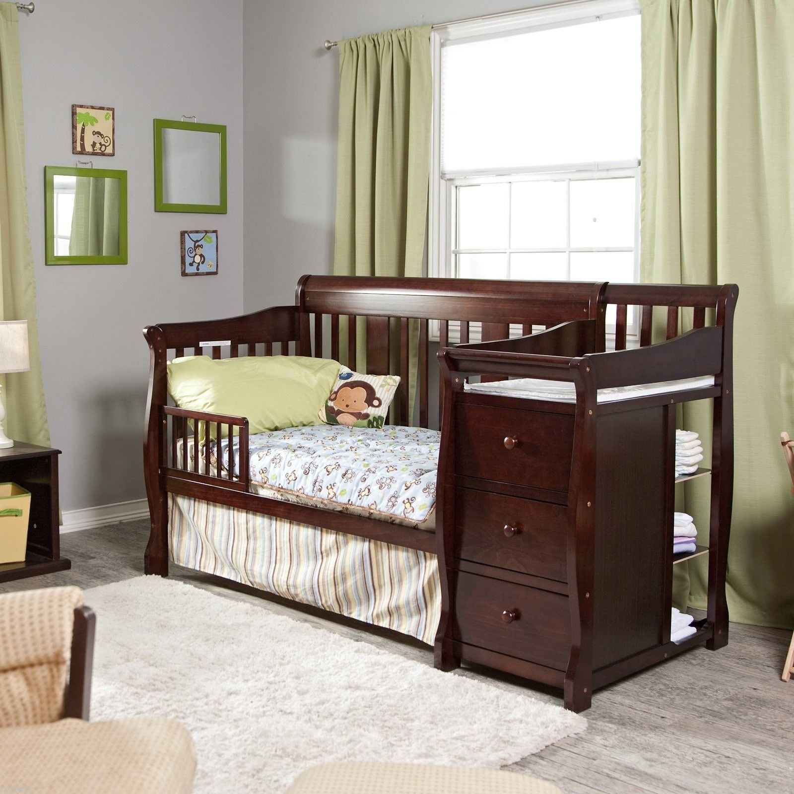4 in 1 Side Convertible Crib Changer Nursery Furniture Baby Bed ...