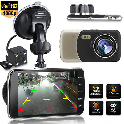 1080P Dual Lens Car DVR Dash Cam Front&Rear Video Recorder Night Vision G-Sensor