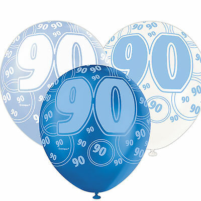 6 Blue Sparkle Happy 90th Birthday 12