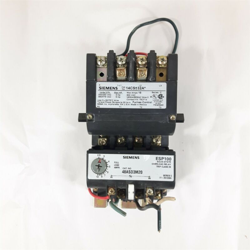 SIEMENS Furnas 14CS+32A Motor Starter w/ Coil and 48ASD3M20 Overload Relay