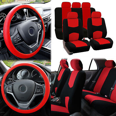 Flat Cloth Car Seat Covers Red Black 2 Row Set w/ Silicone Steering Wheel Cover