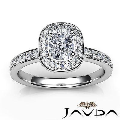 Cushion Diamond Engagement GIA G VS2 Halo Pave Set Ring 18k White Gold 0.87Ct 3