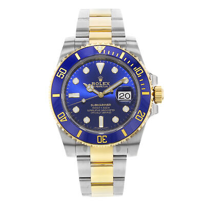 Rolex Submariner 18K Yellow Gold Blue on Blue Steel Automatic Men Watch 116613LB