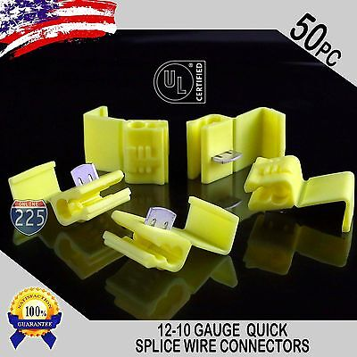 50 Pack 12-10 Gauge Yellow Quick Splice Tap Wire Connectors Terminals Ul Taiwan