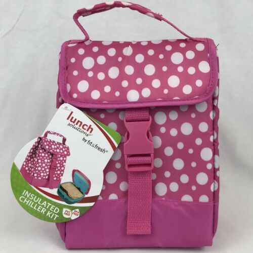 Lunch Box Sack Bag Insulated Chiller Pink Polka Dot Back To