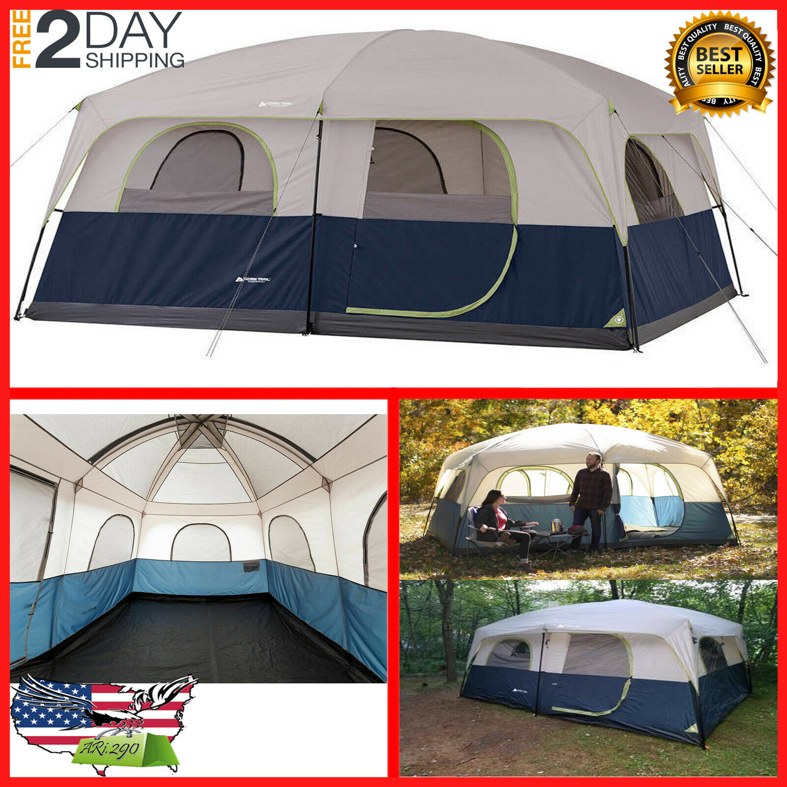 Ozark Trail 14' x 10' Family Cabin Tent 10 Person Outdoor Ca