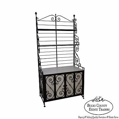 Vintage French Iron & Brass Cabinet Base Bakers Rack