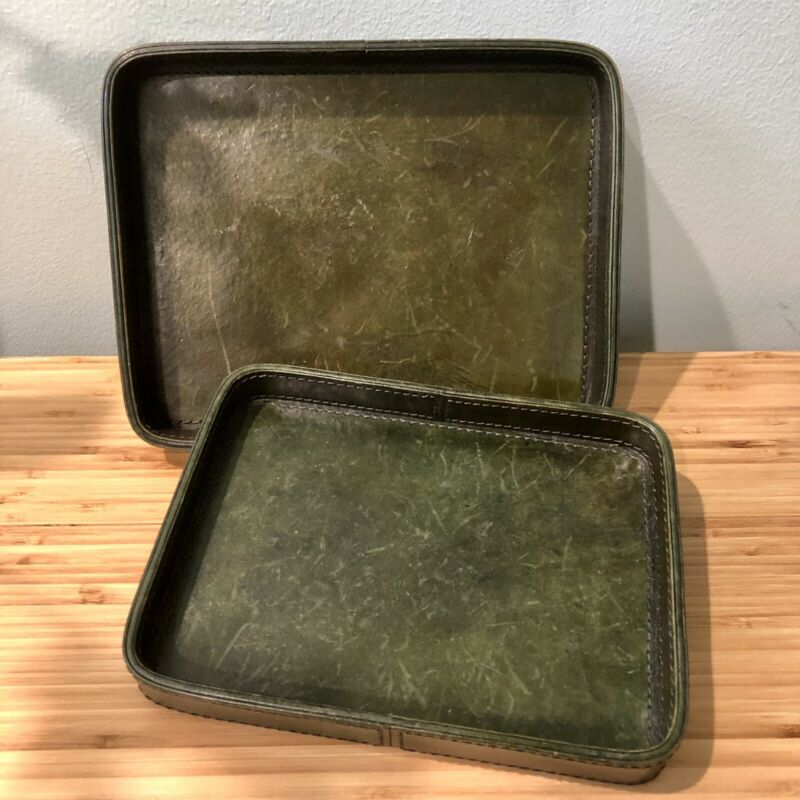 Napa Home & Garden St Jacques Leather Trays Set Of 2 Brown Olive Green Decor