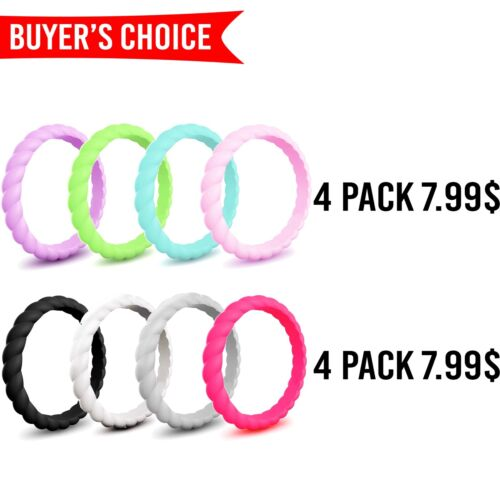 Silicone Rings Women Ii Wedding Rubber Thin Bands Stackable Engagement Workout
