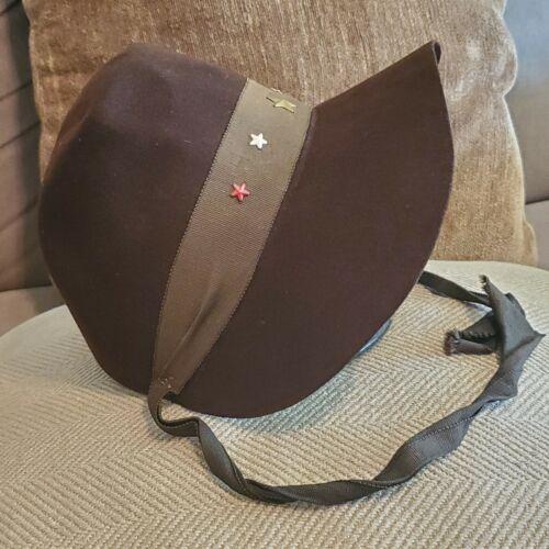 "20.5""--Vintage FELT INC. Womens Wool Brown Hat with STARS"